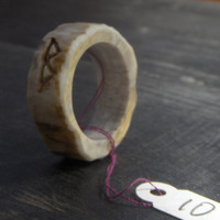 Viking Rustic Norse Mens Rune Ring  Deer Antler Handmade Native Tribal Made to order  in your size & choice of runes