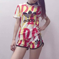 """Adidas"" Fashion Casual Multicolor Clover Letter Print Short Sleeve Set Two-Piece Sportswear"
