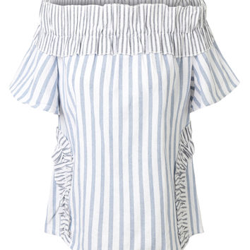 LE3NO Womens Striped Summer Linen Ruffle Off Shoulder Top