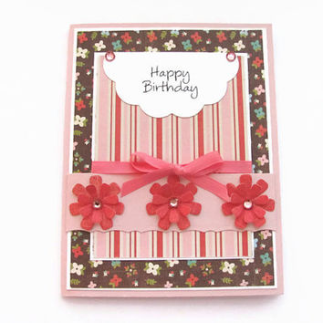 Happy Birthday Flower Card, Birthday Card for Her, Brown, Pink, Happy  Birthday