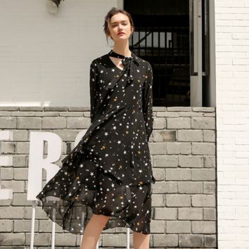 Long Sleeves Star Prints Double Layer Maxi Dress