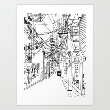 Osaka - downtown street Art Print by Parisian Samurai Studio