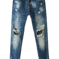 ROMWE Distressed Dark-blue Jeans