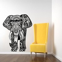 Wall Decals Indian Elephant Tribal Pattern Om Sign Ganesh Buddha Lotus Yoga Wall Vinyl Decal Stickers Bedroom Murals