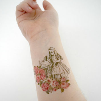 Temporary tattoo - Alice, Wonderland, Floral, Vintage, Green, Pink, Fandom, Geekery