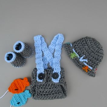 Crochet Fishing Photo Prop Heather Grey Newborn Infant