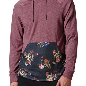On The Byas Dark Floral Hooded Shirt - Mens Shirt - Red