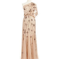 Adrianna Papell One Shoulder Beaded and Sequined Gown