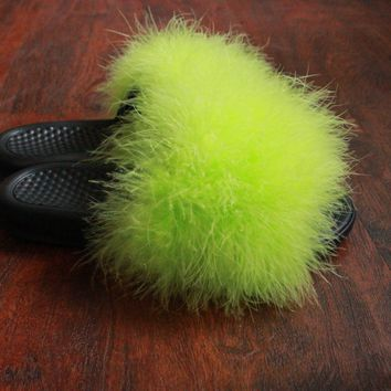 faux fur slides lime green