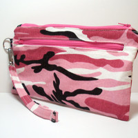 Pink Camouflage Wristlet - Pink White Black - Country Girl Camouflage - Zippered Bag - Country Wedding Clutch - Holiday Gift