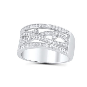 Sterling Silver Simulated Diamond Wide Infinity Statement Ring
