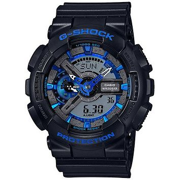 Casio Mens G-Shock - Black Case and Strap - 200m WR - Blue Highlights