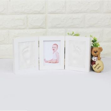 2 colors Cute Baby Photo Frame 3D DIY Non Toxic Footprint Handprint Soft Clay Safe Inkpad Home Decoration Ceremony Gift For Baby