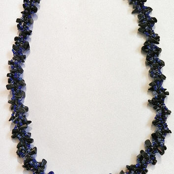 Midnight Blue Beadwork Necklace - Dark Blue, Royal Blue and Black Seed Bead Patterned Bracelet - Spiral Rope Design Necklace