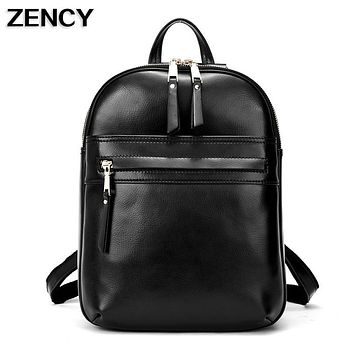 ZENCY New 2017 Fashion Oil Wax Cowhide Women Real Genuine Leather Backpack School Book Bags Girls Beige/Black/Dark Blue Color