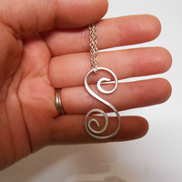 Silver Initial Necklace S wire wrapped hammered initial letter charm necklace personalized jewelry