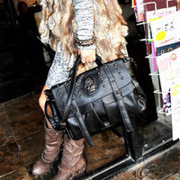 Women Pu Leather Bag Punk Skull Rivet Shoulder Handbag School Satchel