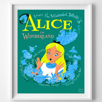 Disneyland Vintage, Disney Poster, Disneyland Print, Alice in Wonderland, Disney, Fantasyland, Kids Room, Nursery, Halloween Decor