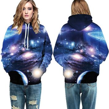 Blue Sparkling Universe Tracksuits Autumn Womens Long Sleeve Skateboard Hoodies Winter Loose Hooded Sweatshirts Harajuku Jackets