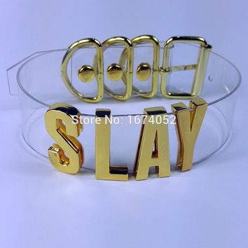 Handmade Punk Gold Letter Choker Clear PVC Transparent Cosplay Slay Collar Tall Band Word Name Collar Necklace