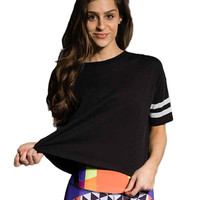 Fashion Summer T Shirts For Women Casual Crop Tops Short Sleeve Loose Striped Tee Shirt femme Short Top camisetas y tops
