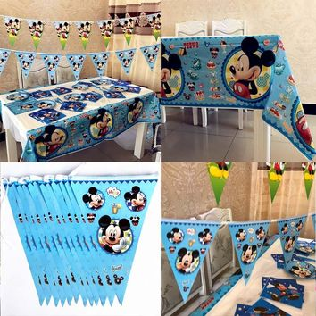 Mickey Mouse Tablecloths and Banner Flags Kids Birthday Party Baby Decoration Ideas Baby Shower Christmas Partyware Supplies
