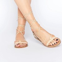 ASOS | ASOS FATE Leather Embroidered Tie Leg Sandals at ASOS
