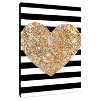 Glitter filled heart with stripes - poster print - canvas art - Custom Art Print - Home Decor - wall art  - minimalist art - black and white