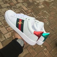 """Gucci"" Unisex Casual Fashion Multicolor Stripe Embroidery Little Bee Small White Shoes Couple Plate Shoes Sneakers"
