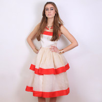 1950s (50s) Vintage Organza Red and Beige Stripe Dress