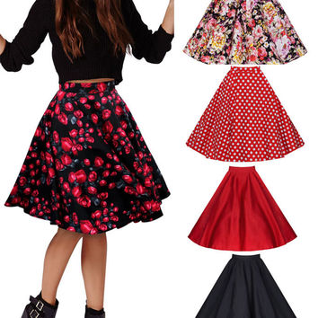 free shipping 2015 new  big swing rockabilly skirt black polka dot print retro vintage rockabilly 50's style skirt size s-2xl