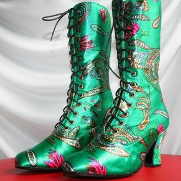 Victorian  Boots style, in ucrainian floral print, 2,7 inch  / 7 cm High Heels, ORDER your size, All sizes in stock