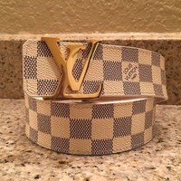 Men's Louis Vuitton LV Damier Azur Initial Belt Size 95/38 WHITE GOLD CHECKERED