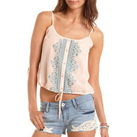 Embroidered Tie-Front Chiffon Tank: Charlotte Russe