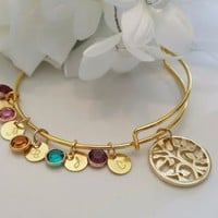 Gold Tree of Life Bracelet, Family Tree Bracelet, Gold Bangle Bracelet