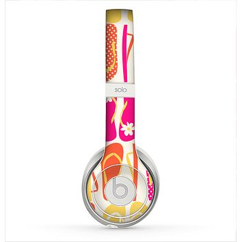 The Vibrant Pink & Yellow Flip-Flop Vector Skin for the Beats by Dre Solo 2 Headphones