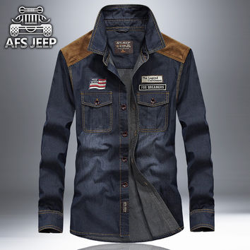 New arrival high quality denim shirt men brand clothing AFS JEEP long sleeve men shirt plus size jeans shirt  Autumn camisa
