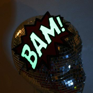 Glow in the dark Comic bam embroidered headband by janinebasil