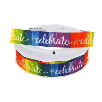 Celebrate Rainbow Grosgrain Ribbon, 7/8-Inch, 25-Yard