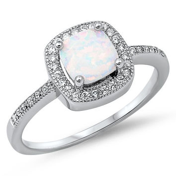 Fashion 1.42 Carat Princess Cut Square Fiery White Lab Opal 925 Sterling Silver Promise Ring Sparkly Clear Topaz Halo Diamond Accent Ring