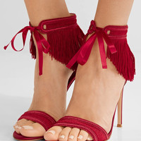 Gianvito Rossi - Fringed satin sandals