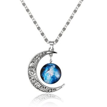 H:HYDE Silver Color Jewelry Fashion Moon Statement Necklace Glass Galaxy Lovely Necklace&Pendants Fine Jewerly