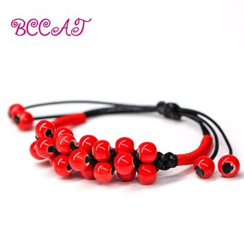 BCCAT ceramic jewelry Handmade bracelets bangles for women natural gem charm with red rope bracelets beads love gift