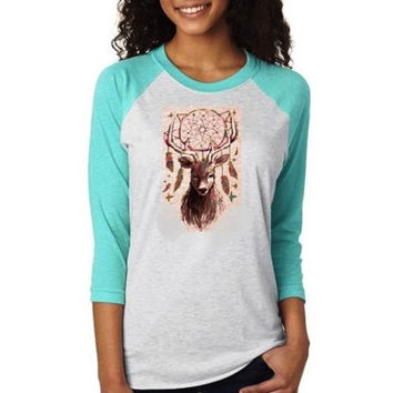 Country Life Vintage Feather Deer Dream Raglan Long Sleeve T-Shirt