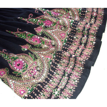 Gypsy Skirt: Black Knee Length Skirt, Boho Indian Floral Sequin Midi Skirt, Flowy Bohemian Cover Up