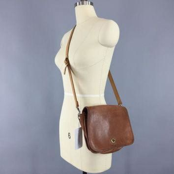 Vintage 1970s Coach Bag   Brown Leather Cross Body Purse b21ed02d501b5