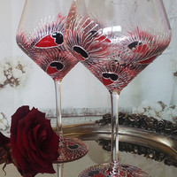 CRYSTAL SET of 2 Hand Painted wine glasses Red black peacock theme