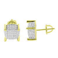 14K Gold Finish Earrings Hip Hop Iced Out Simulated Diamonds Screw Back Mens Womens 9 mm
