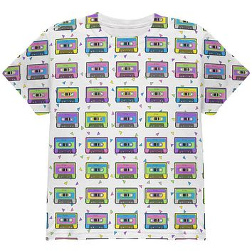 Retro Cassette Tape Pattern All Over Youth T Shirt