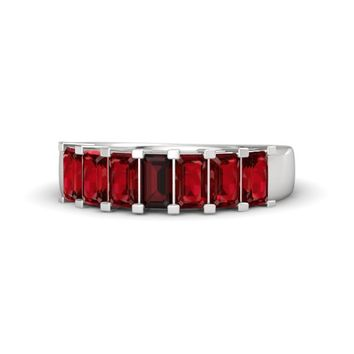 Emerald-Cut Red Garnet Sterling Silver Ring with Ruby